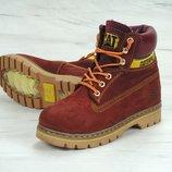 Зимние женские ботинки CATERPILLAR Brown натуральный нубук с мехом
