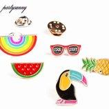 Значек 3D для одежды - метал, эмаль, арбуз, ананас, радуга, очки, значки
