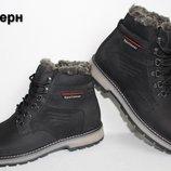 Кожаные мужские зимние ботинки ClubshoesBlack 97