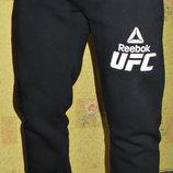 Спортивные штаны теплые Reebok UFC на манжете синие, черные.