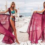 Женская длинная пляжная туника 078 Шифон Макси в расцветках.