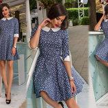 Женское стильное короткое платье 250 Джинс Клёш Принт Воротничок в расцветках.