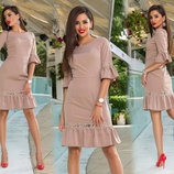 Элегантное женское платье средней длины 308 Креп Рукава Воланы Кружево в расцветках.