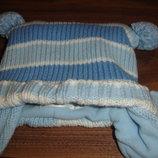Теплая вязанная деми шапка на малыша до года идеал
