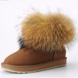 угги кожа женские Хит дутики зимние теплые изабель сапоги ботинки термо сникерсы