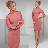 Элегантное женское платье средней длины 007 Ангора Гольф Рукава Лампасы Пуговички в расцветках.