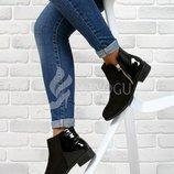 Ботинки женские черные на маленьком каблуке Best selling
