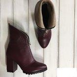 Ботинки на устойчивом каблуке натуральная кожа/замша/лак р.36-41