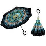 Женский зонт трость обратного сложения Антизонт Автомобильный Unbrella Upbrella Kazbrella Smartzont