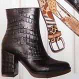 Ботинки на высоком устойчивом каблуке натуральная кожа под крокодил р.36-41
