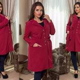 Женское лёгкое пальто-тренч в больших размерах 231 Тренч Креп в расцветках.