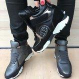 Два Цвета. Р.35-41. Зимние кожаные кроссовки кросовки Chanel Шанель туфли ботинки зима