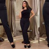 Женские стильные брюки в батальных размерах 216 Алекс Полоска Пояс .