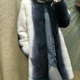 Шуба бобра с капюшоном из натур. норки, длина 90см, код LK-2591