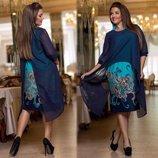 Элегантный женский комплект с платьем в больших размерах 202 Цветы Купон Шифон Накидка в расцветка