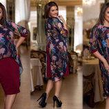 Элегантный женский комплект с платьем в больших размерах 202 Однотон Шифон Накидка Цветы в расцвет