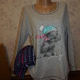 пижама скомбинированная трикотажная кофта флисовые штанишки р12-14 16-18