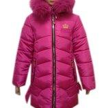 Яркая зимняя куртка, пальто для девочки 6-10 лет