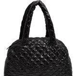 Стеганая сумка-саквояж POOLPARTY черная и коричневая