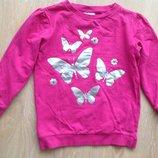 пуловер кофта реглан батник 122 см розовый как новый 100 Infinity Котон бабочки серебро