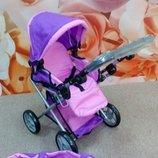Коляска кукольная Melogo 9672 розово-фиолетовая
