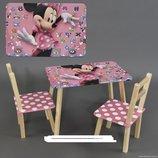 Столик и два стульчика деревянные Мини Маус С 099