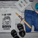 1 - 2 года 92 см Обалденная фирменная натуральная футболка футболочка Я Босс