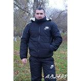 Мужской зимний спортивный костюм на меху и синтепоне 2 цвета