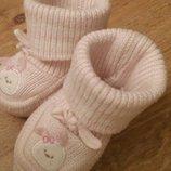Нежно-Розовые пинетки для малышки от 0мес.