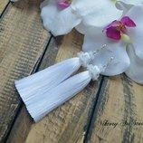 Свадебные вечерние длинные серьги кисти кисточки из бисера и хрусталя белого цвета ручной работы
