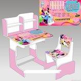 Парта школьная растишка Микки Маус 016, розовая