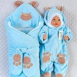 Набор для новорожденных Панда , зимний, голубой