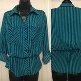 Рубашка в полоску в стиле милитари Elementz с регулируемой длиной рукавов xl