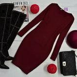 Очень тёплое платье турецкий трикотаж на меху 2 цвета с круглым вырезом классическое от р40 по р52