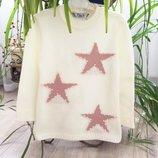 4-9л Туника свитер с шерстью звезды жемчуг 104-134 айвори кремовый