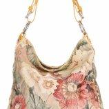 Кожаная женская сумка с цветочным принтом