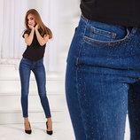 Женский стильные джинсы американка со стразами до больших размеров 0807 в расцветках.