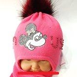 Теплый классный комплект шапка шарф Термо Польша AMBRA