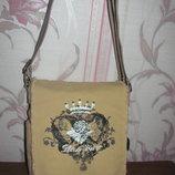 Мега стильная бежевая тканевая сумка New York