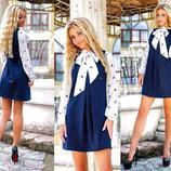 Стильное женское платье офисный стиль 1047 Алекс Рукава Бант Кошечки в расцветках.