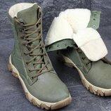 Берцы мужские зеленый, зима