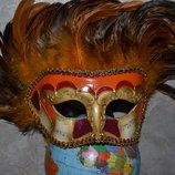 Карнавальная Маска для Хэллоуина Италия с натуральными Перьями