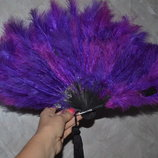 Веер из натуральных Перьев фиолет - марсал для Хэллоуина
