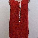 Блузка удлиненная без рукавов красная в узоры фирменная M&S Mode размер 50