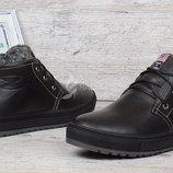 Ботинки кожаные Casual black мужские зимние на натуральном меху