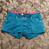 Женские шорты джинсовые изумрудного цвета