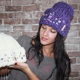 Вязаная стильная шапка ручная работа в камнях В Наличии И Под Заказ