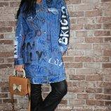 пальто джинс джинсовое плащ куртка курточка стильная граффити