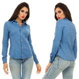 Женская стильная рубашка 4071 Джинс Классика Кнопки в расцветках.