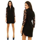 Стильное короткое женское платье 4042 Креп Змейка Рукава Сетка Флок .